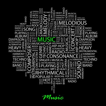 MUSIC. Word collage on black background. Vector