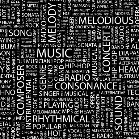 duet: MUSIC. Seamless pattern with word cloud.