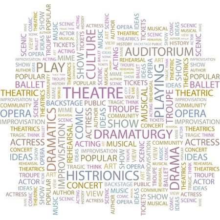 theatrics: THEATRE. Word collage on white background.
