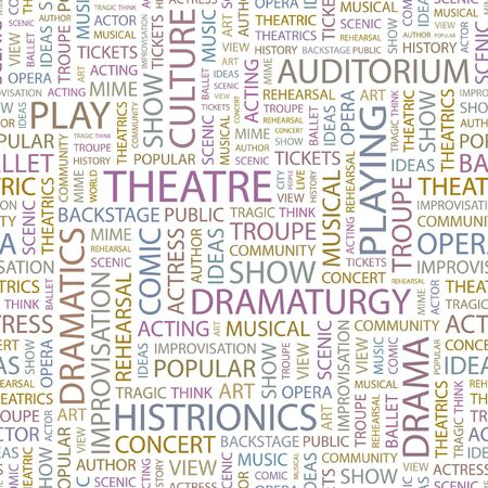 theatrics: THEATRE. Seamless background. Wordcloud illustration.