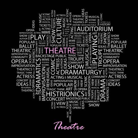 theatrics: THEATRE. Word collage on black background.