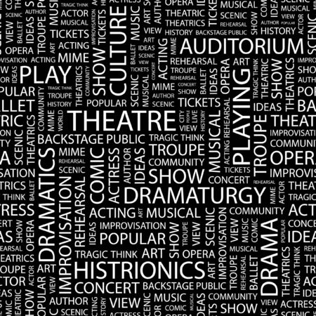 theatrics: THEATRE. Seamless pattern with word cloud.
