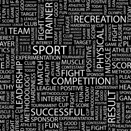 contestant: SPORT. Seamless pattern with word cloud. Illustration