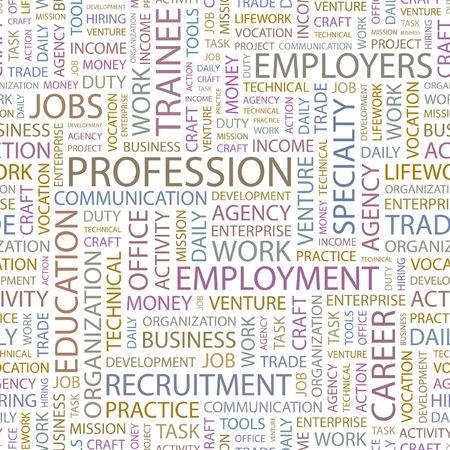 lifework: PROFESSION. Seamless background. Wordcloud illustration.