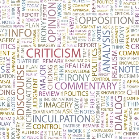 criticism: CRITICISM. Seamless background. Wordcloud illustration.