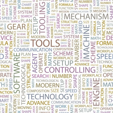 tooling: TOOLS. Seamless background. Wordcloud illustration.