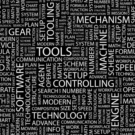 tooling: TOOLS. Seamless pattern with word cloud.   Illustration