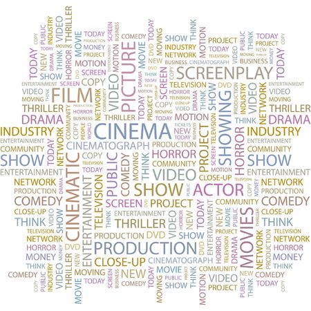 CINEMA. Word collage on white background. Stock Vector - 6878908