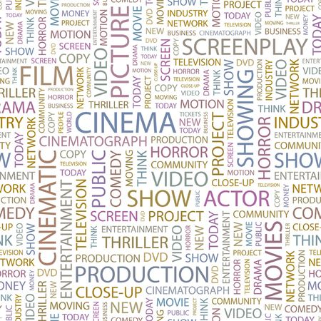 CINEMA. Seamless background. Wordcloud illustration. Stock Vector - 6878410