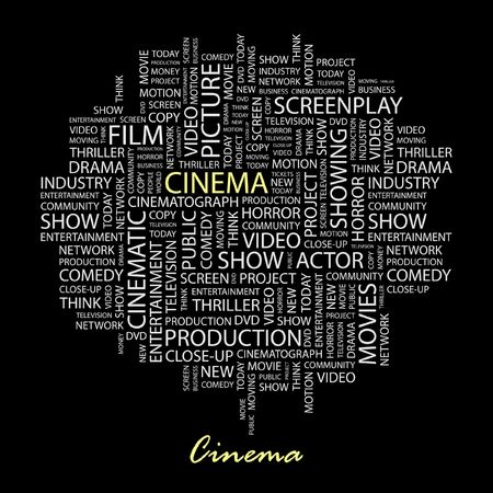 cinematograph: CINE. Palabra collage sobre fondo negro.  Vectores