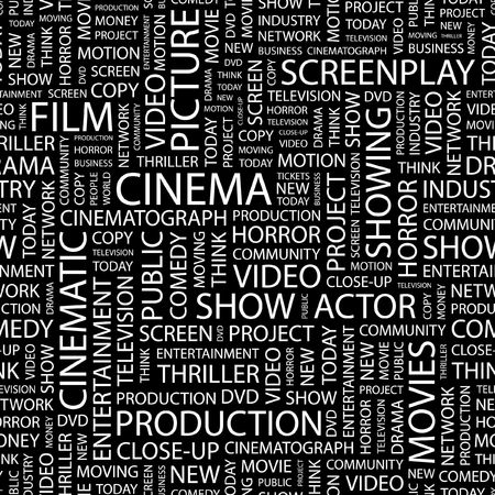 screenplay: CINEMA. Seamless pattern with word cloud.   Illustration