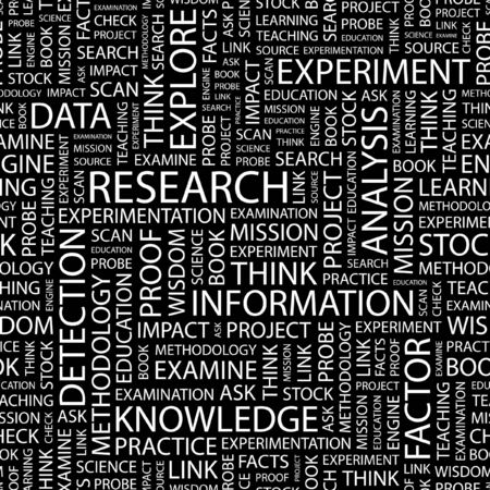 inquest: RESEARCH. Seamless pattern with word cloud.