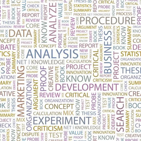 critique: ANALYSIS. Seamless background. Wordcloud illustration.
