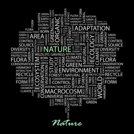 the humanities landscape: NATURE. Word collage on black background.