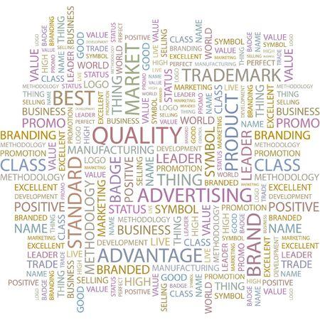 management qualit�: QUALIT�. Collage de mot sur fond blanc.