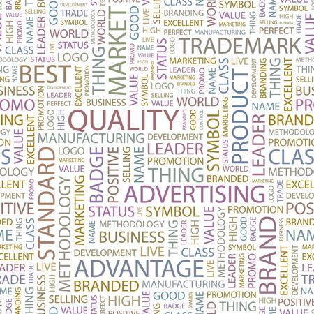 value system: QUALITY. Seamless background. Wordcloud illustration.   Illustration