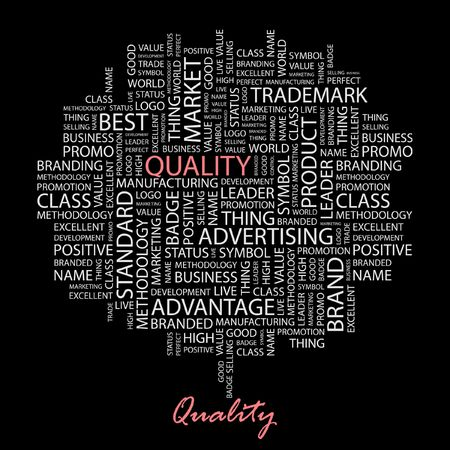 QUALITY. Word collage on black background. Stock Vector - 6878675