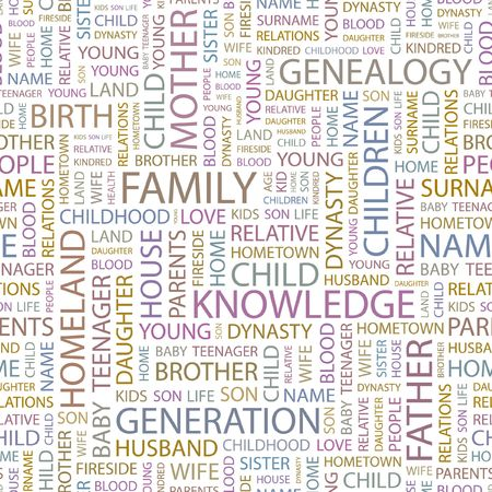 kindred: FAMILY. Seamless background. Wordcloud illustration.   Illustration