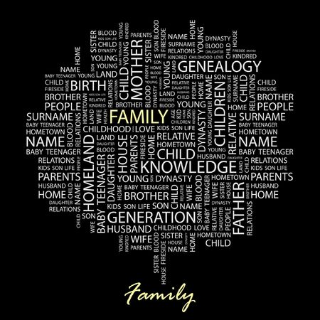 kindred: FAMILY. Word collage on black background. Illustration