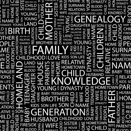 kindred: FAMILY. Seamless pattern with word cloud.   Illustration