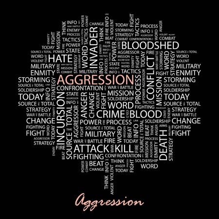 bloodshed: AGGRESSION. Word collage on black background.