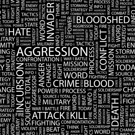 enmity: AGGRESSION. Seamless pattern with word cloud.