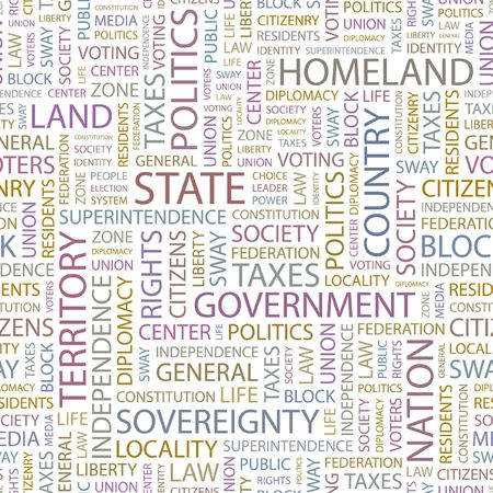 citizenry: STATE. Seamless background. Wordcloud illustration.