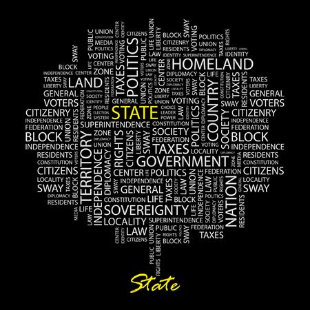 citizenry: STATE. Word collage on black background.