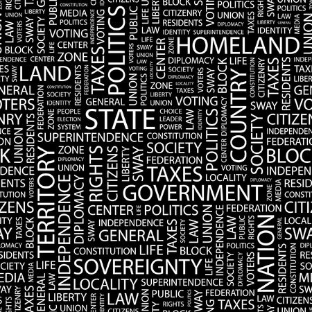 citizenry: STATE. Seamless pattern with word cloud.