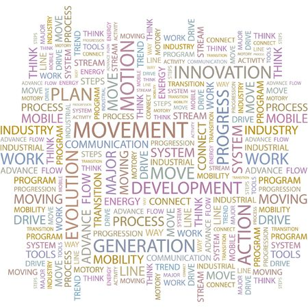 advancement: MOVEMENT. Word collage on white background.