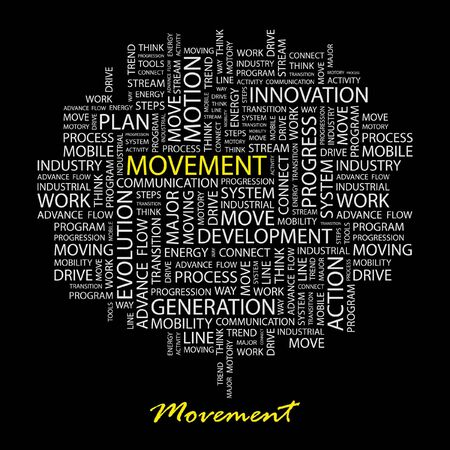 MOVEMENT. Word collage on black background. Vector