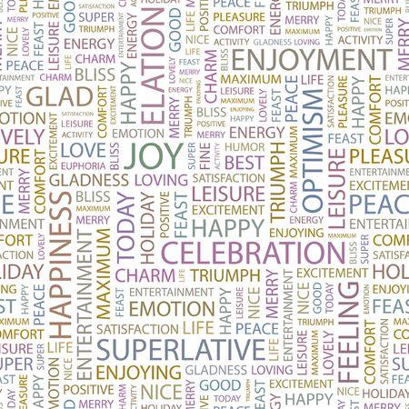elation: JOY. Seamless background. Wordcloud illustration.