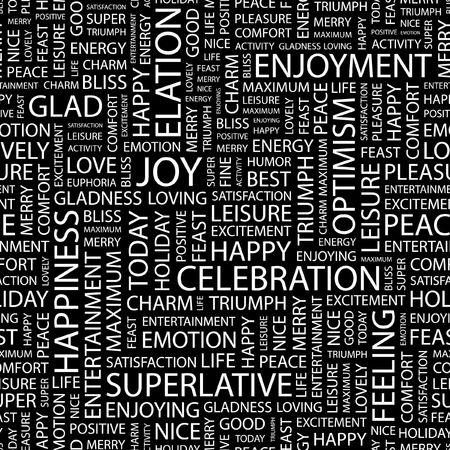elation: JOY. Seamless pattern with word cloud.