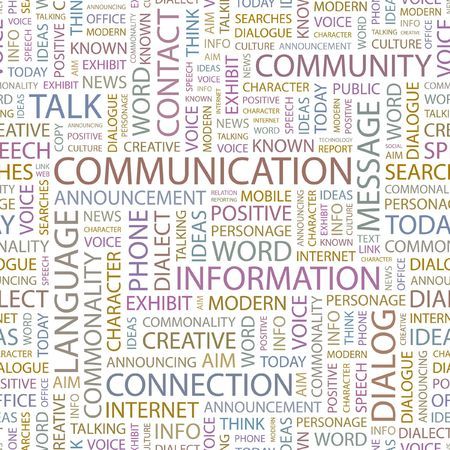 COMMUNICATION. Seamless background. Wordcloud illustration.   Vector