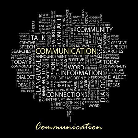 advisement: COMMUNICATION. Word collage on black background.  Illustration