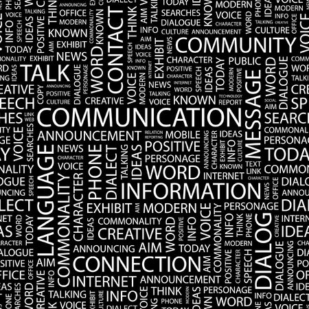 advisement: COMMUNICATION. Seamless pattern with word cloud.   Illustration