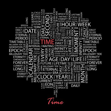 TIME. Word collage on black background.  Vector