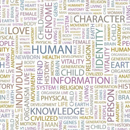 civilized: HUMAN. Seamless background. Wordcloud illustration.   Illustration