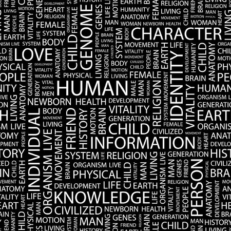 civilized: HUMAN. Seamless pattern with word cloud.   Illustration