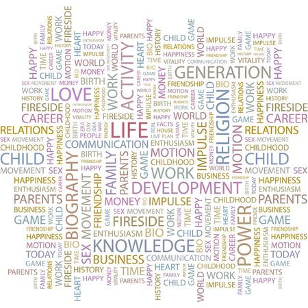 biography: LIFE. Word collage on white background.