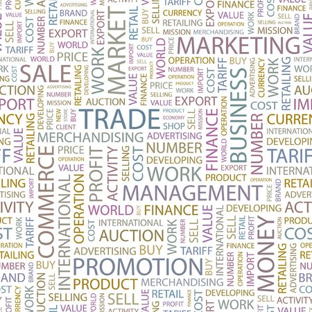 embargo: TRADE. Seamless background. Wordcloud illustration.