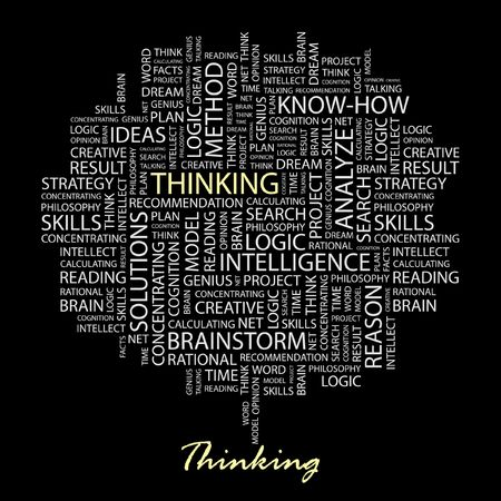 THINKING. Word collage on black background. Vector