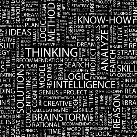 THINKING. Seamless pattern with word cloud.