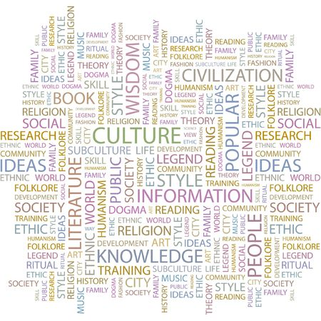 music theory: CULTURE. Word collage on white background. Illustration