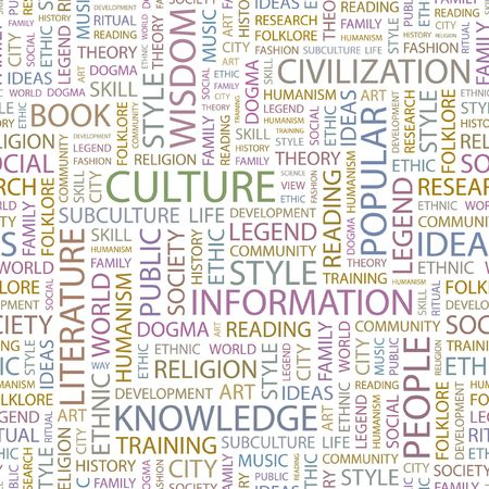 world cultures: CULTURE. Seamless background. Wordcloud illustration.