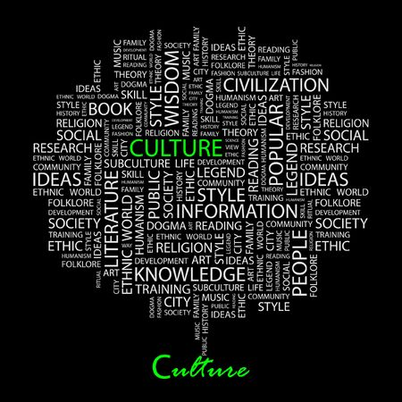 CULTURE. Word collage on black background. Stock Vector - 6879871