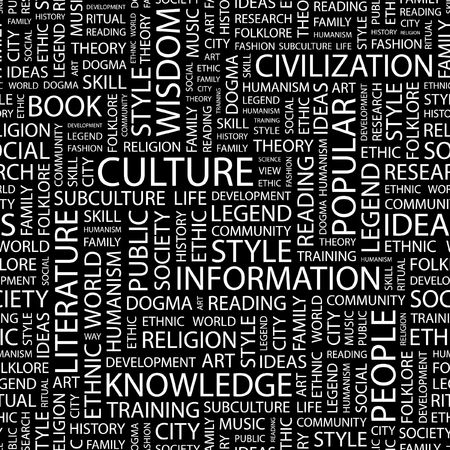 ethic: CULTURE. Seamless pattern with word cloud.