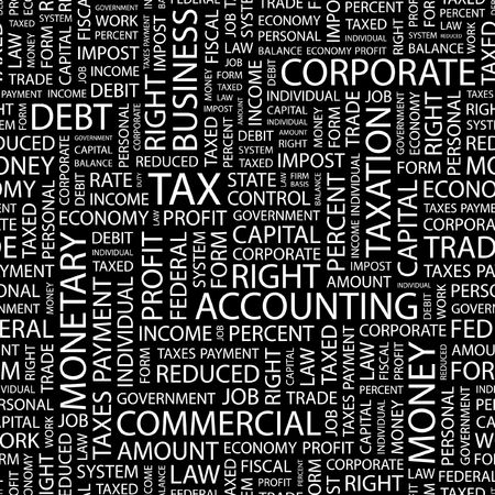impost: TAX. Seamless pattern with word cloud.