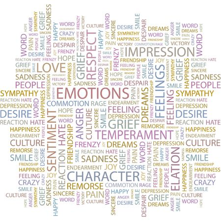 EMOTIONS. Word collage on white background.  Vector