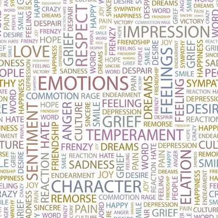 remorse: EMOTIONS. Seamless background. Wordcloud illustration.
